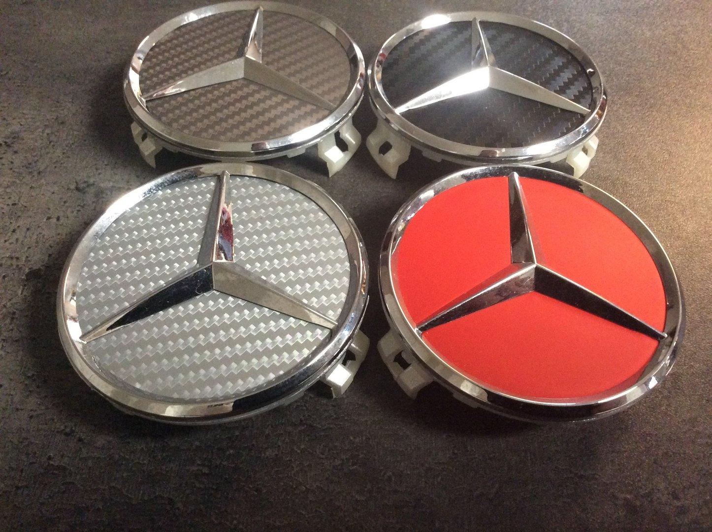 4 x caches centres de roues mercedes chrome 3d carbone. Black Bedroom Furniture Sets. Home Design Ideas